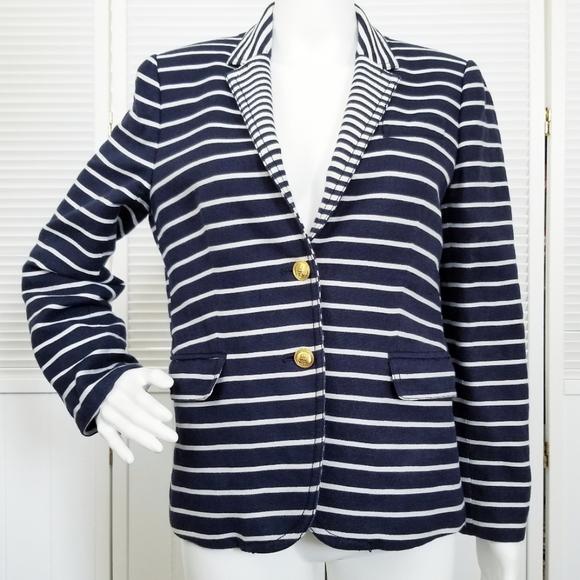 J. Crew Jackets & Blazers - J. Crew Schoolboy Navy and White Striped Blazer